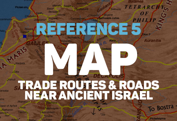 Map of trade routes and roads near ancient Israel